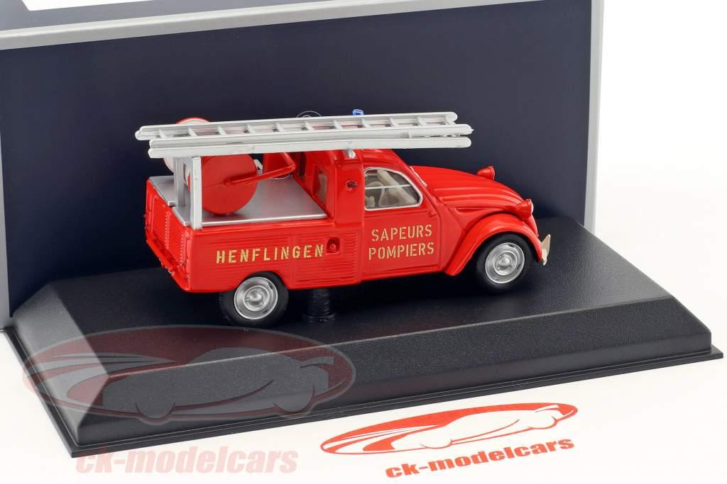 Citroen 2CV Pick-Up Feuerwehr mit Leiter Baujahr 1963 rot 1:43 Norev