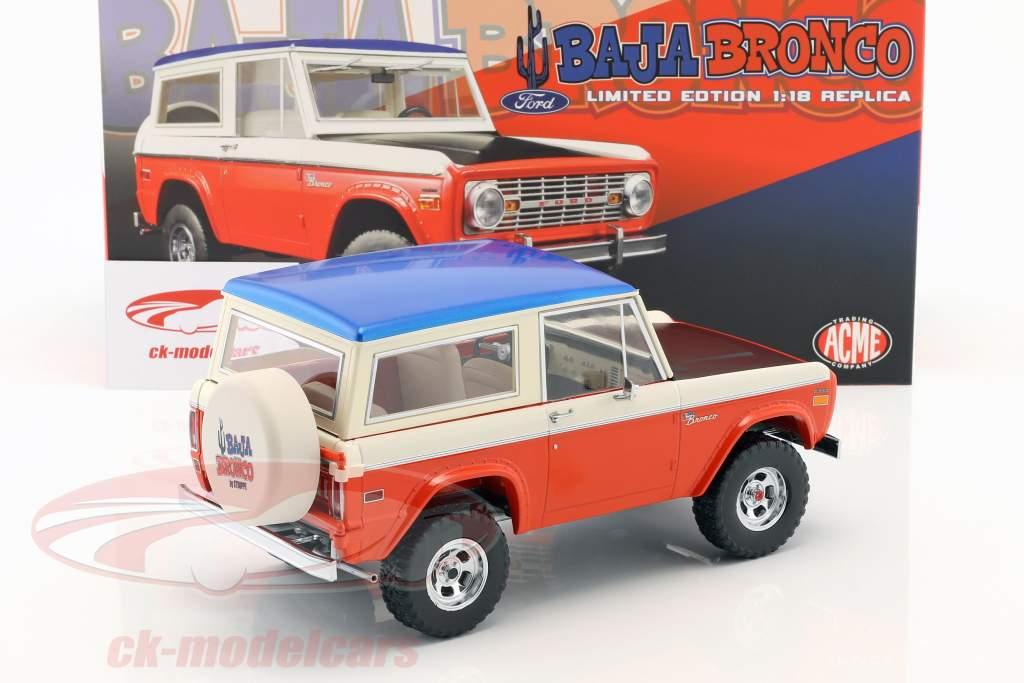 Ford Baja Bronco mit abnehmbarem Dach Baujahr 1971 rot / weiß / blau / schwarz 1:18 GMP