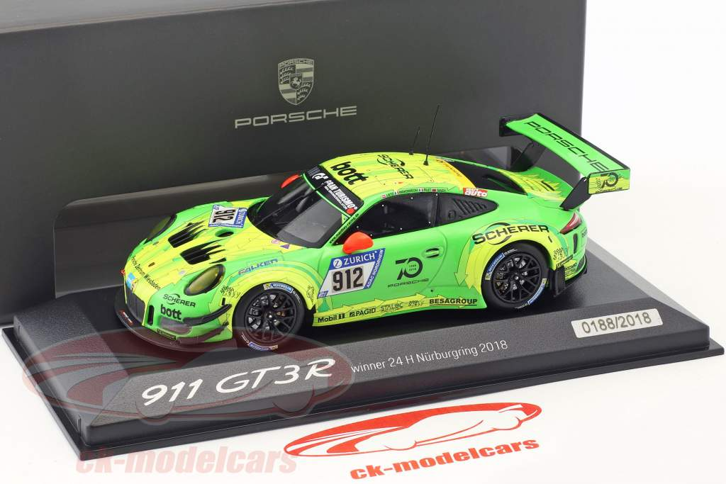 Porsche 911 (991) GT3 R #912 ganador 24h Nürburgring 2018 Manthey Racing 1:43 Minichamps