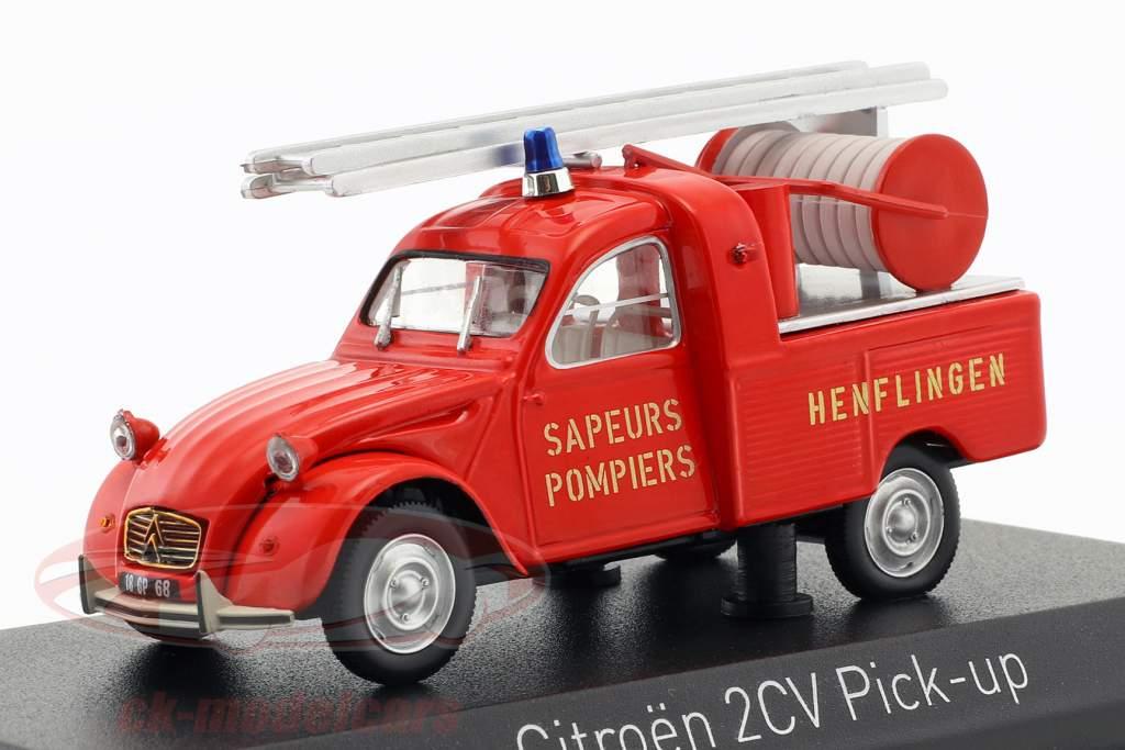 Citroen 2CV Pick-Up brandvæsen med hoved Opførselsår 1963 rød 1:43 Norev