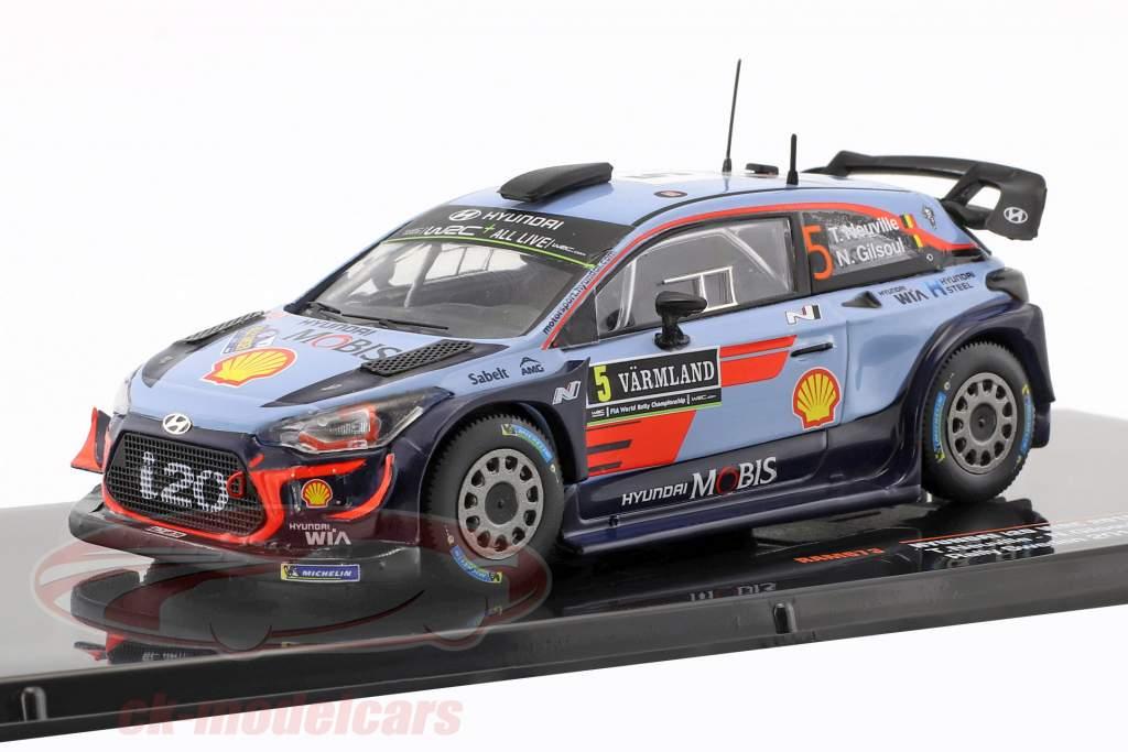 Hyundai i20 WRC #5 ganador Rallye Suecia 2018 Neuville, Gilsoul 1:43 Ixo