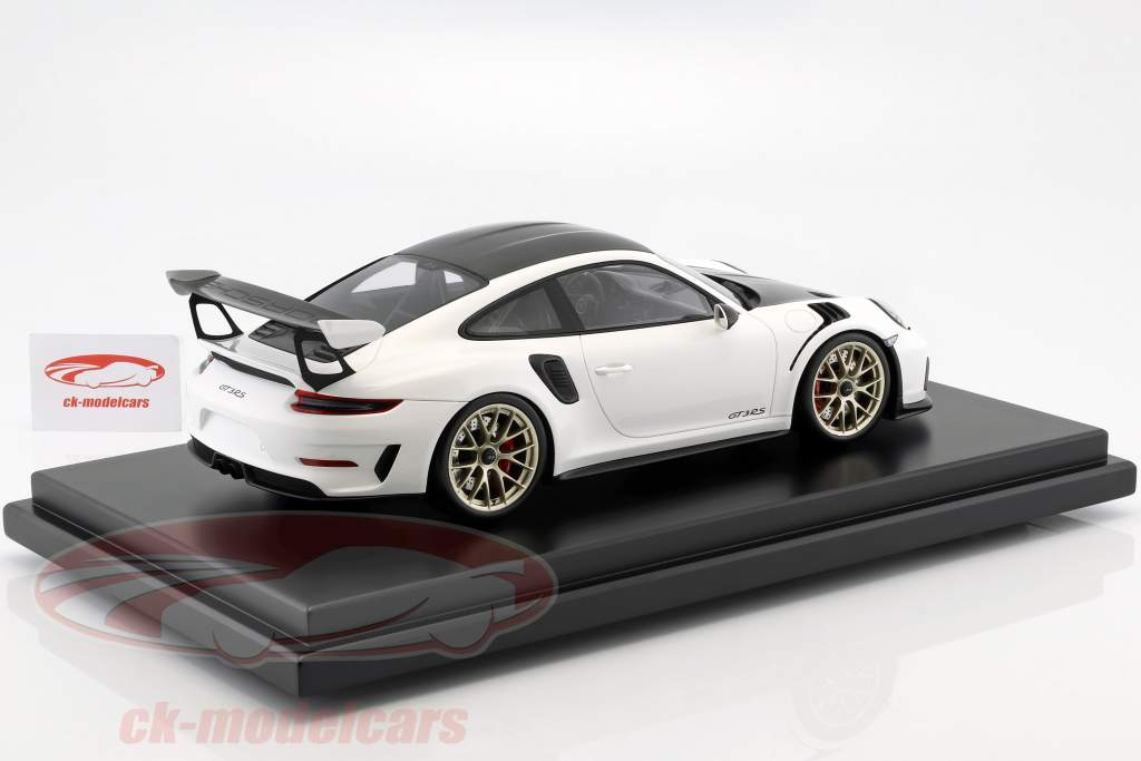 Porsche 911 (991 II) GT3 RS Weissach Package 2018 blanco con escaparate 1:12 Spark