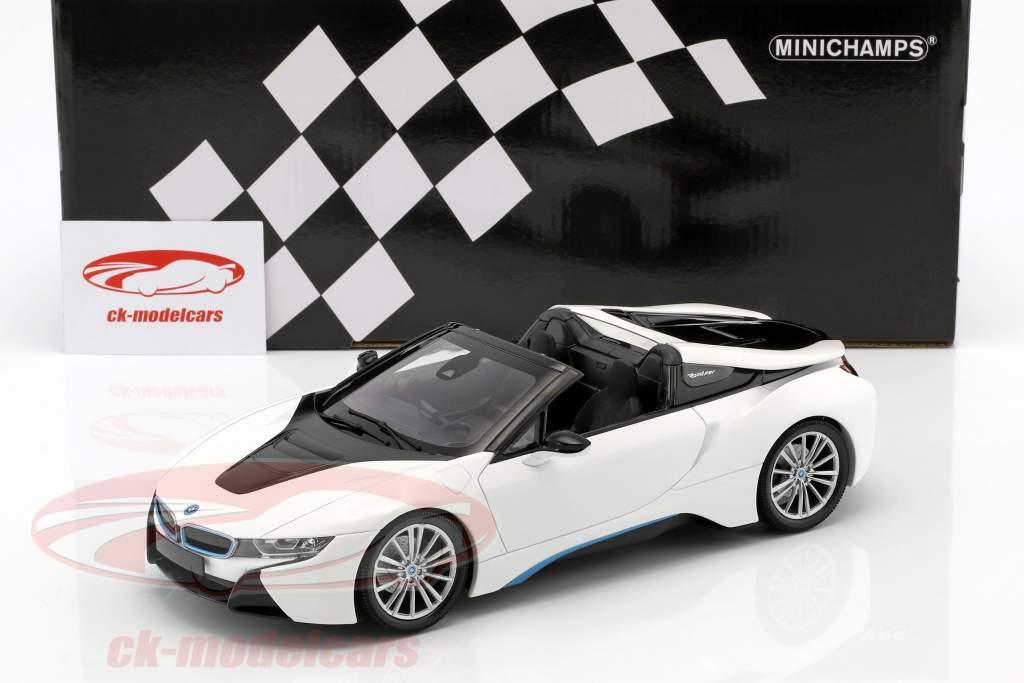 BMW I8 Roadster (I15) year 2018 white metallic 1:18 Minichamps