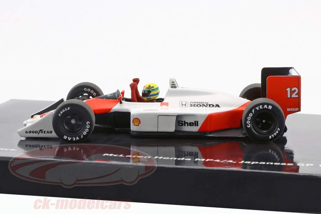 Ayrton Senna McLaren MP4/4 #12 campeão do mundo Japão GP F1 1988 1:43 Minichamps