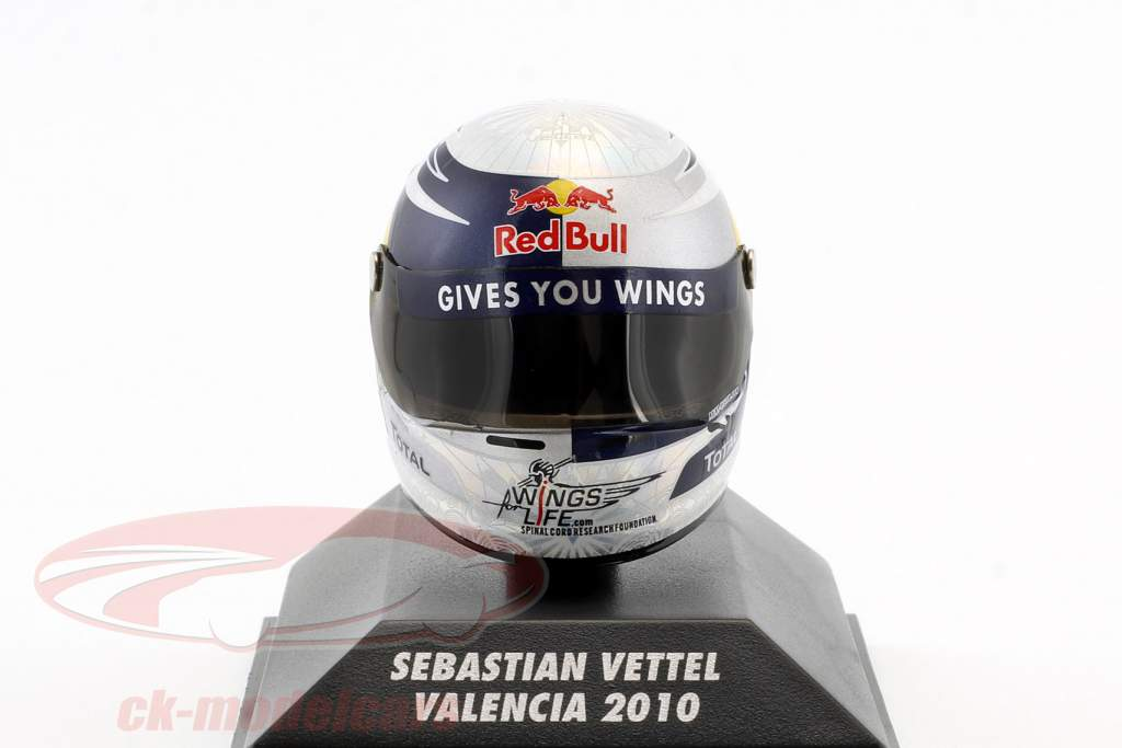 S. Vettel Red Bull GP Valencia Formel 1 Weltmeister 2010 Helm 1:8 Minichamps