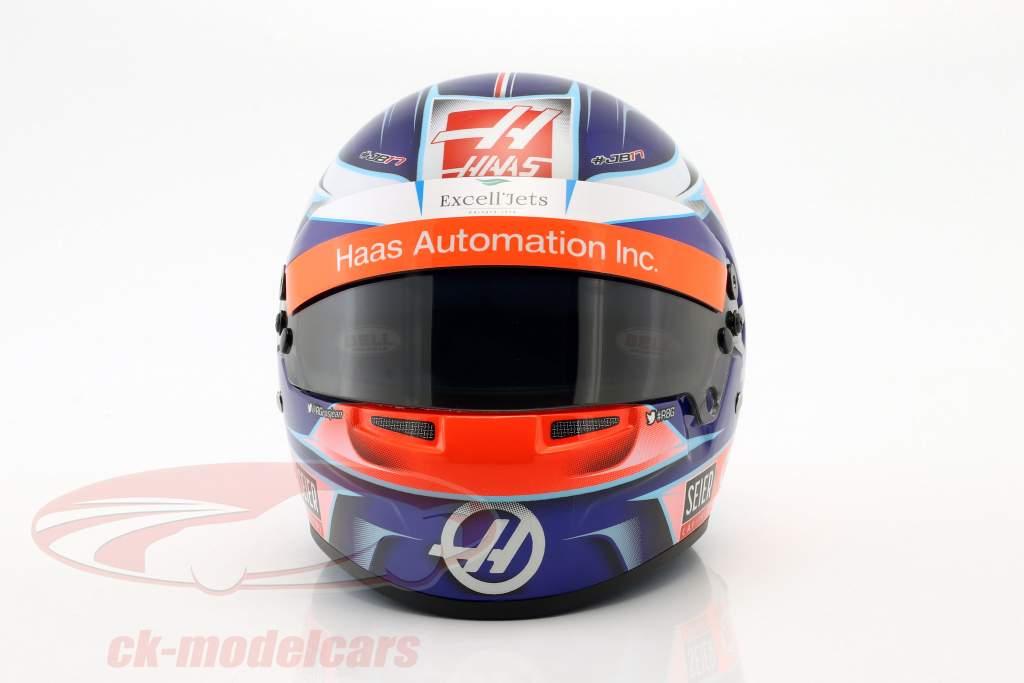 Romain Grosjean Haas VF-18 #8 fórmula 1 2018 casco 1:2 Bell