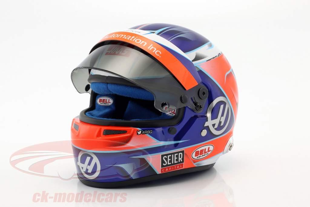 Romain Grosjean Haas VF-18 #8 formule 1 2018 casque 1:2 Bell