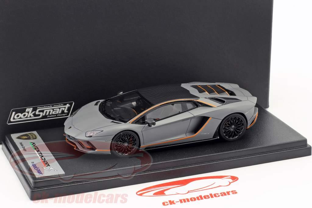 Lamborghini Aventador S année de construction 2017 gris mat / orange 1:43 LookSmart