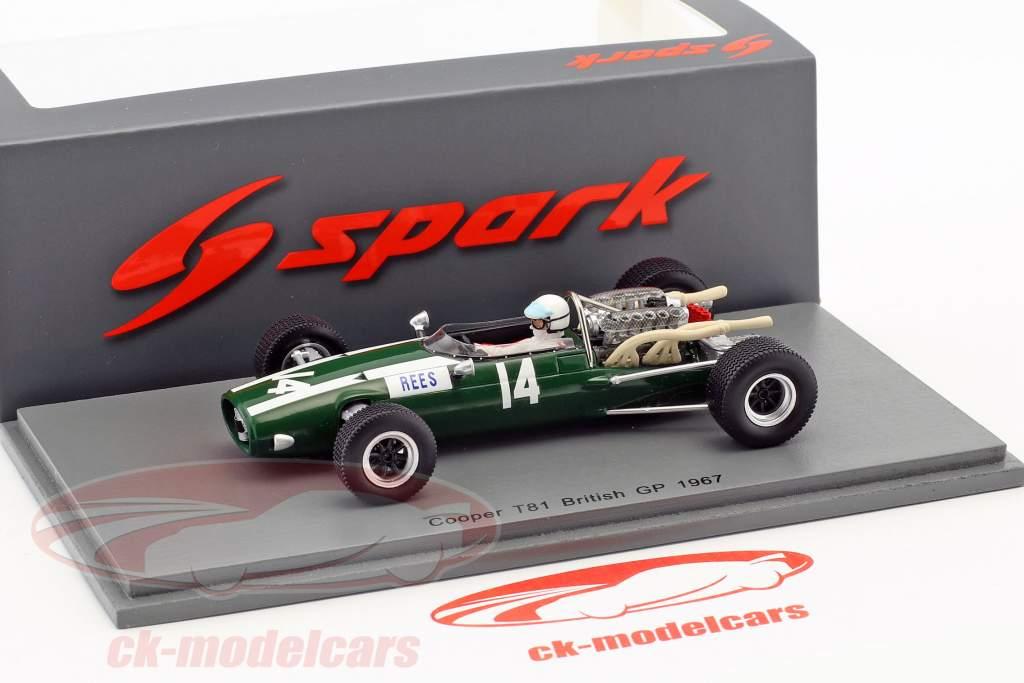 Alan Rees Cooper T81 #14 Storbritannien GP formel 1 1967 1:43 Spark
