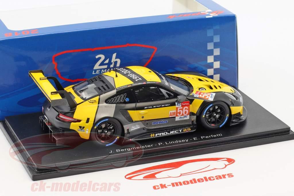 Porsche 911 RSR #56 24h LeMans 2018 Bergmeister, Lindsey, Perfetti 1:43 Spark