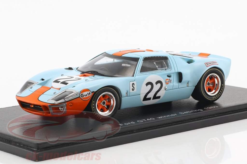Ford GT40 #22 gagnant 12h Sebring 1969 Ickx, Oliver 1:43 Spark