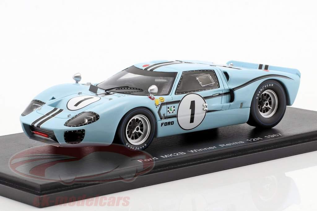 Ford MK II B #1 ganador 12h Reims 1967 Ligier, Schlesser 1:43 Spark