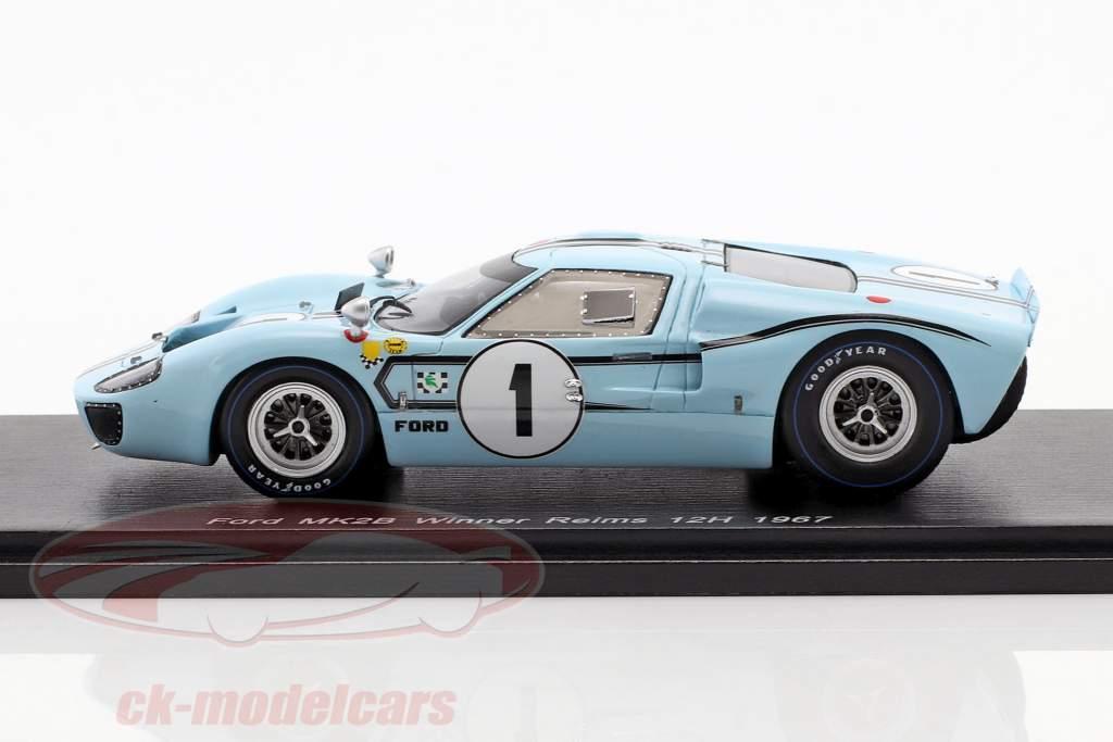 Ford MK II B #1 winnaar 12h Reims 1967 Ligier, Schlesser 1:43 Spark