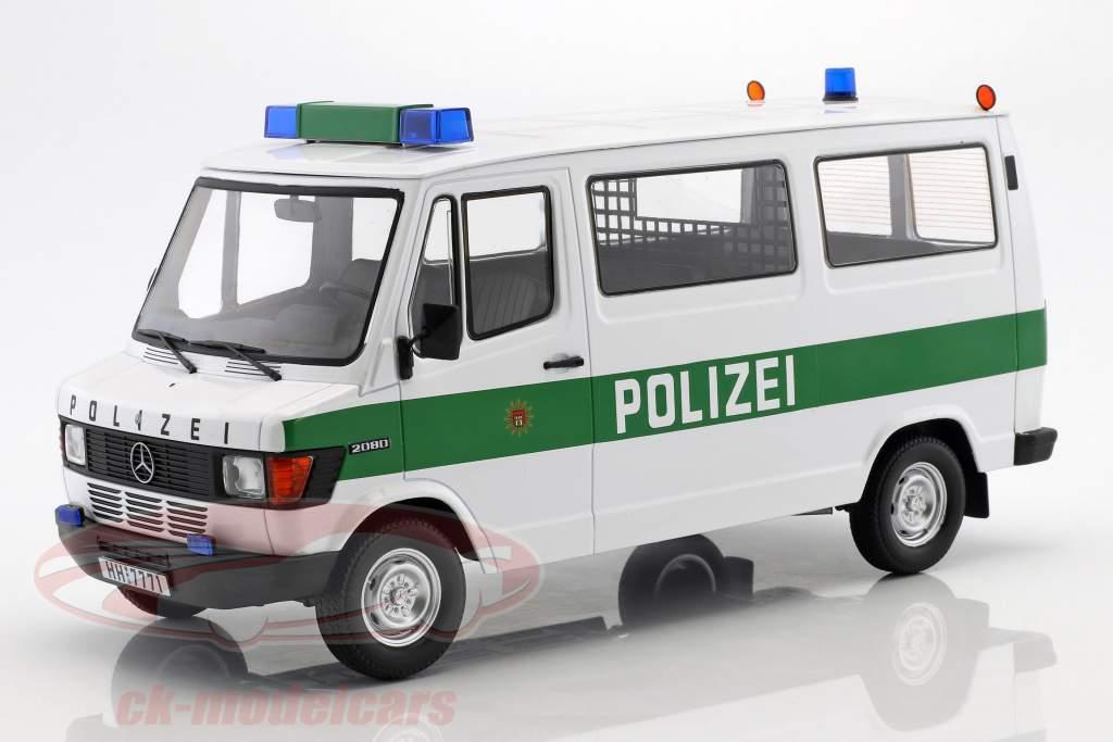 Mercedes-Benz 208 D Bus policía año de construcción 1988 blanco / verde 1:18 KK-Scale