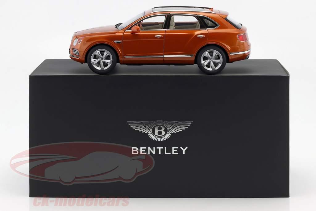 Bentley Bentayga Construção ano 2017 laranja chama 1:18 Kyosho