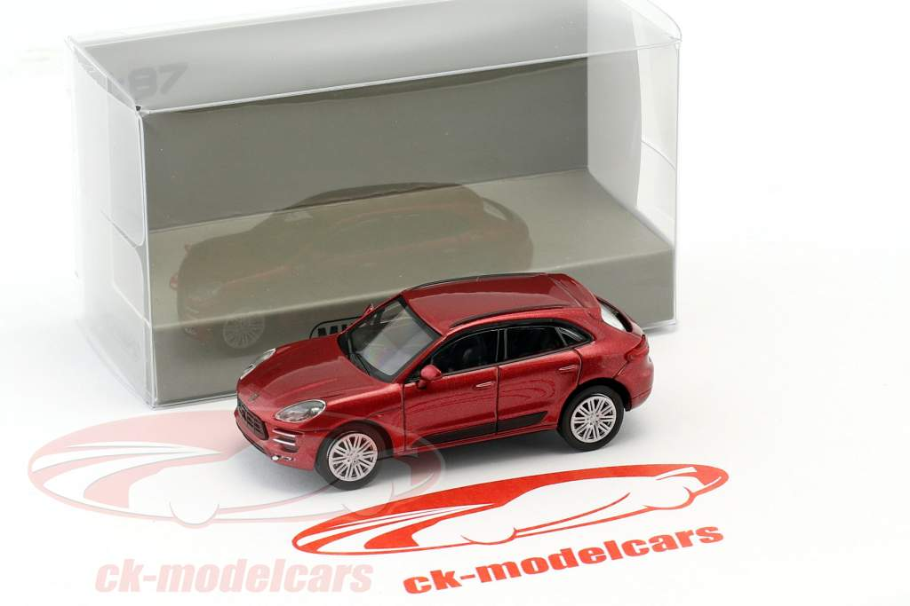 Porsche Macan Turbo Bouwjaar 2013 rood metalen 1:87 Minichamps