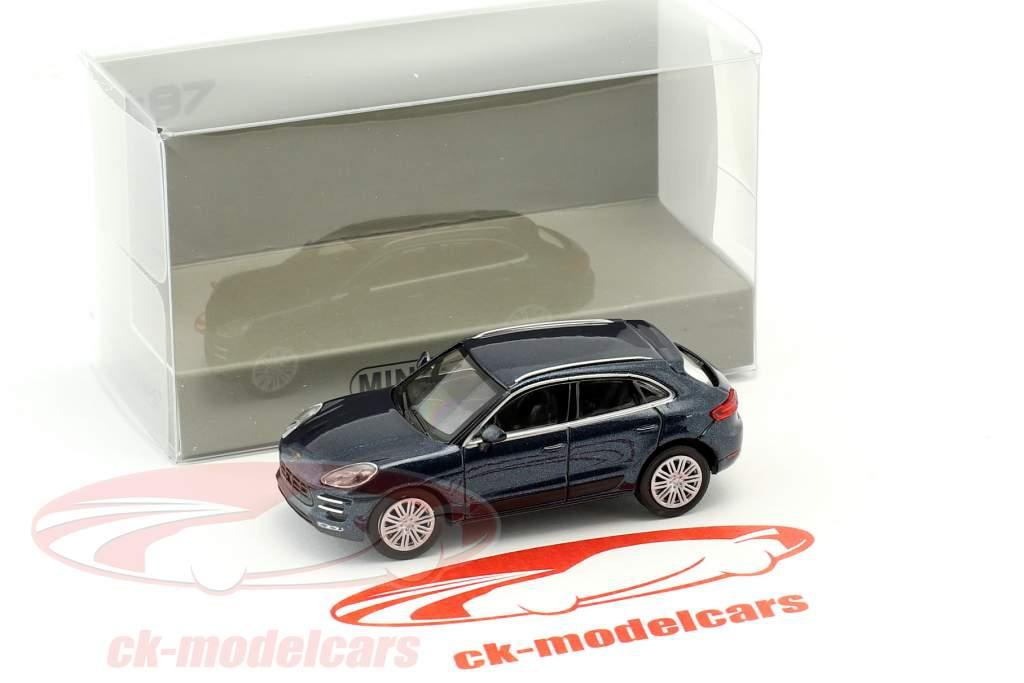 Porsche Macan Turbo Baujahr 2013 blau metallic 1:87 Minichamps