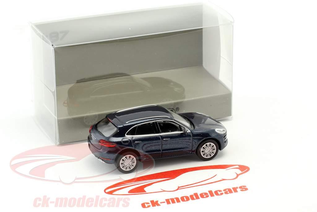 Porsche Macan Turbo Opførselsår 2013 blå metallisk 1:87 Minichamps