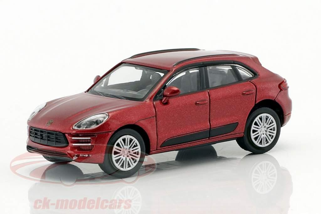 Porsche Macan Turbo Opførselsår 2013 rød metallisk 1:87 Minichamps