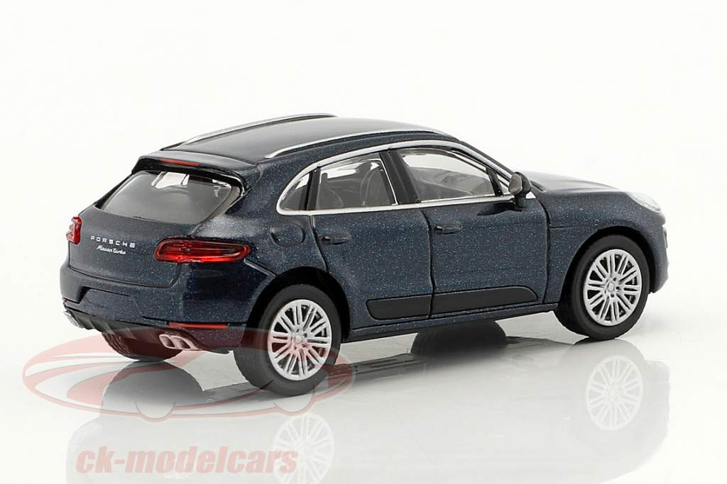 Porsche Macan Turbo Bouwjaar 2013 blauw metalen 1:87 Minichamps