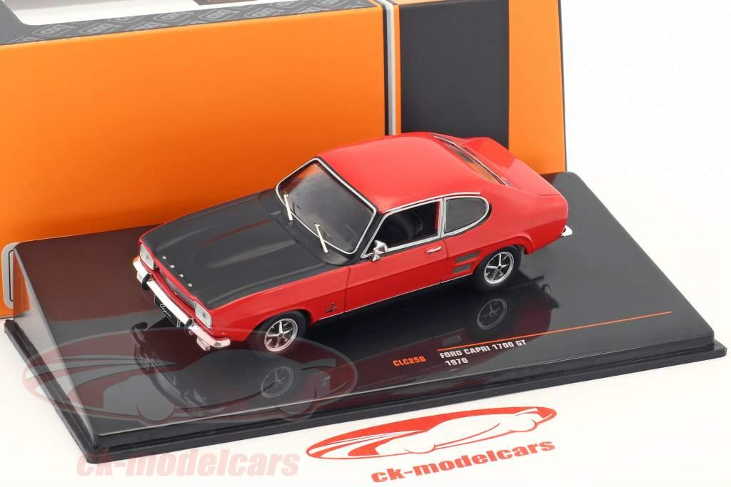 Ford Capri 1700 GT Bouwjaar 1970 rood / zwart 1:43 Ixo