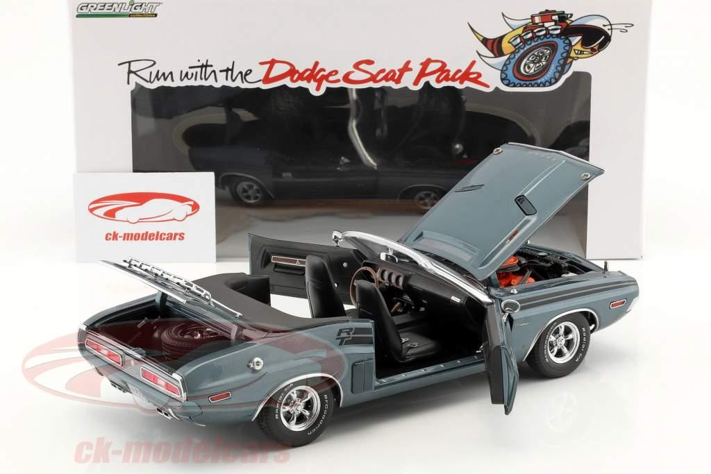 Dodge Challenger R/T Convertible year 1971 blue gray metallic 1:18 Greenlight