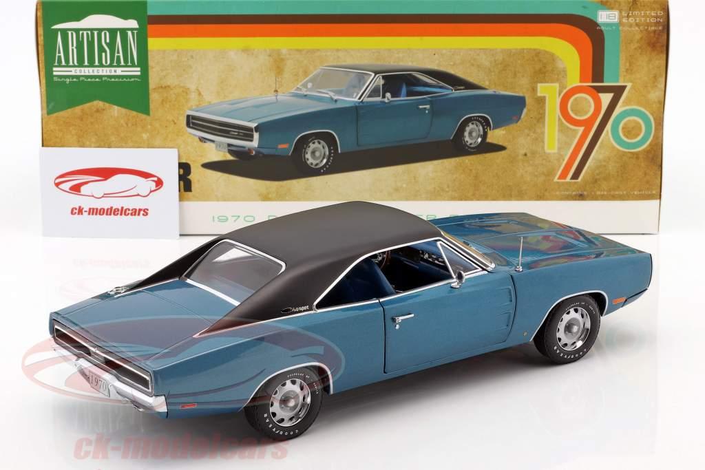 Dodge Charger 500 SE Opførselsår 1970 blå / sort 1:18 Greenlight
