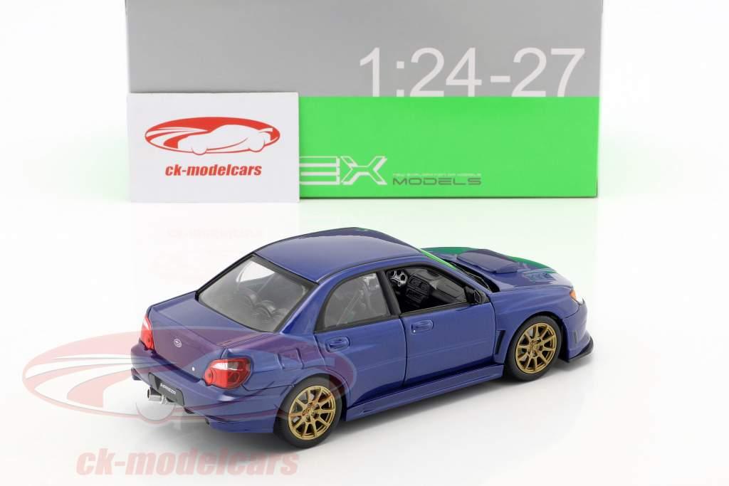 Subaru Impreza WRX STi ano de construção 2010 azul 1:24 Welly