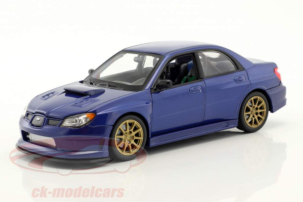 Subaru Impreza WRX STi Bouwjaar 2010 blauw 1:24 Welly