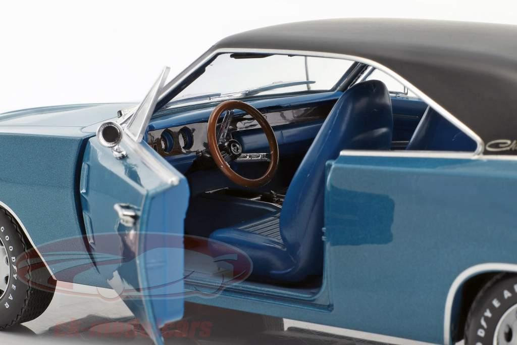 Dodge Charger 500 SE Bouwjaar 1970 blauw / zwart 1:18 Greenlight