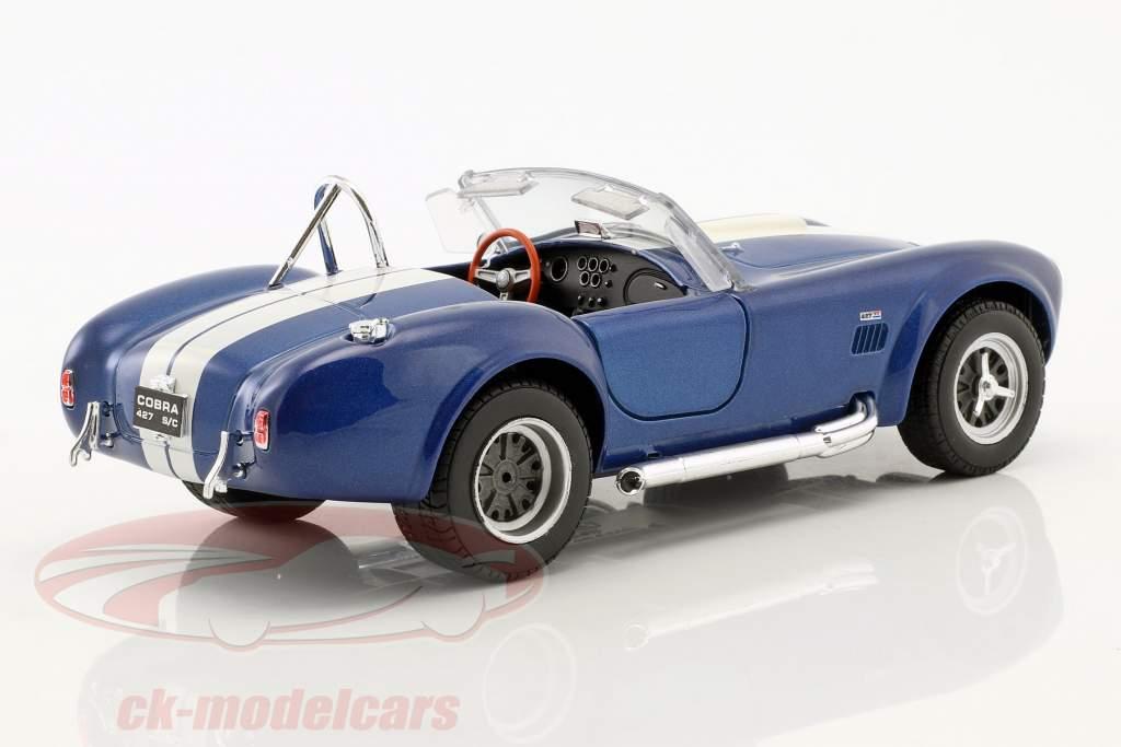 Shelby Cobra SC 427 année de construction 1965 bleu / blanc 1:24 Welly