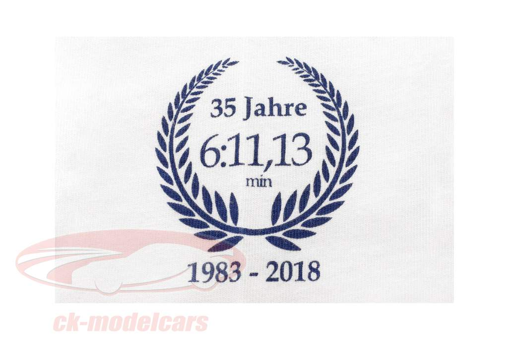 Stefan Bellof Porsche 956K T-Shirt colo recorde 6:11.13 min Nürburgring 1983 branco