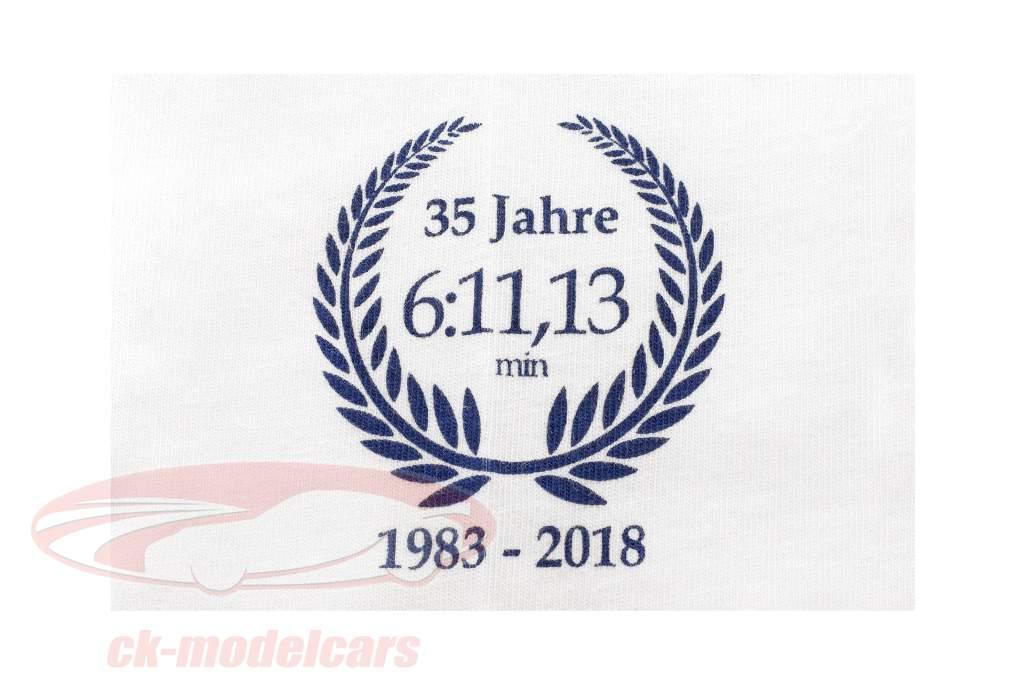 Stefan Bellof Porsche 956K T-Shirt record du tour 6:11.13 min Nürburgring 1983 blanc