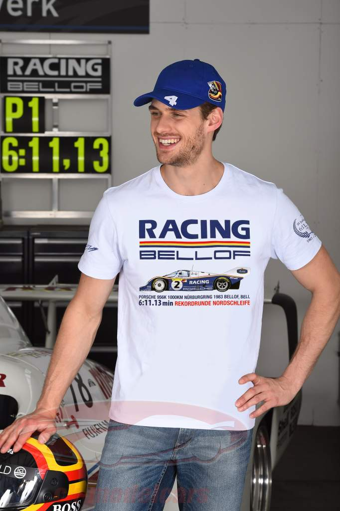 Stefan Bellof Porsche 956K T-Shirt opnemen lap 6:11.13 min Nürburgring 1983 wit