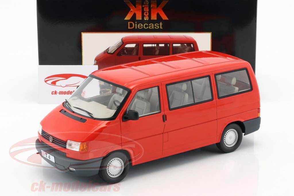 Volkswagen VW T4 bus Caravelle Opførselsår 1992 rød 1:18 KK-Scale