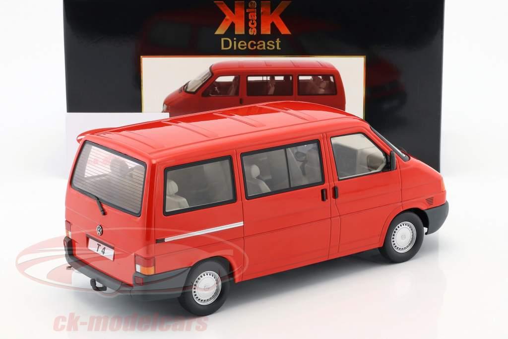 Volkswagen VW T4 ônibus Caravelle ano de construção 1992 vermelho 1:18 KK-Scale
