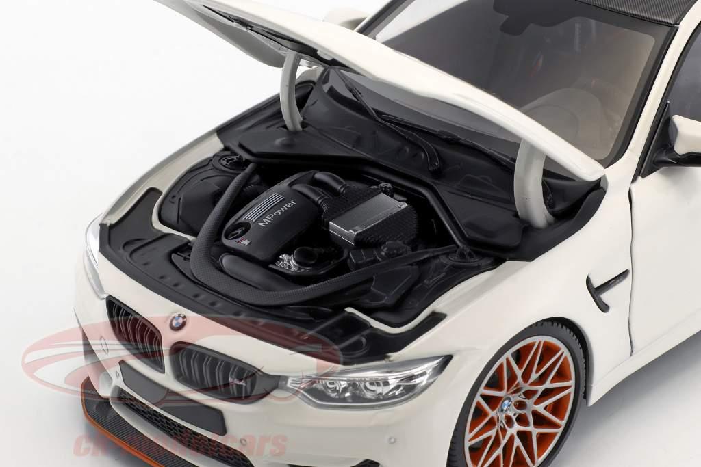 BMW M4 GTS ano de construção 2016 branco com laranja jantes 1:18 Minichamps