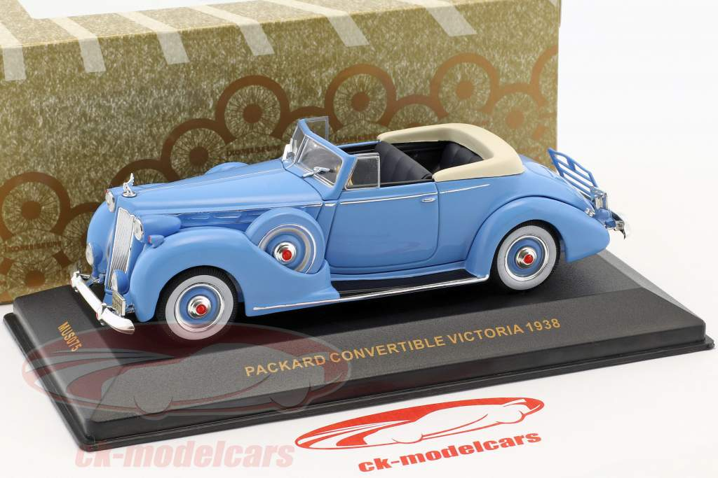 Packard Convertible Victoria ano de construção 1938 azul claro 1:43 Ixo
