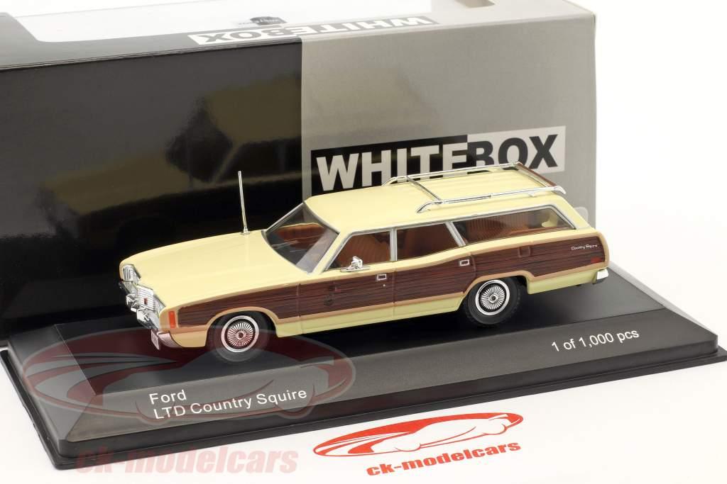 Ford LTD Country Squire Bouwjaar 1972 helder geel / bruin 1:43 WhiteBox