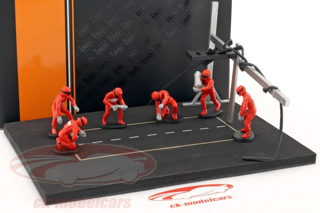 cova parar mecânico conjunto com 6 figuras e acessórios vermelho 1:43 Ixo