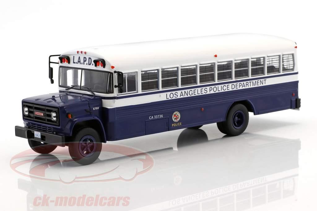 GMC 6000 LAPD Police Department Bouwjaar 1988 blauw / wit 1:43 Ixo