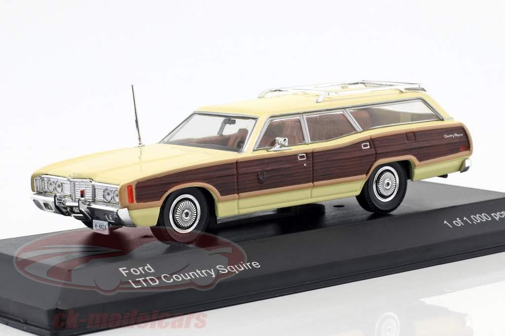 Ford LTD Country Squire ano de construção 1972 brilhante amarelo / marrom 1:43 WhiteBox