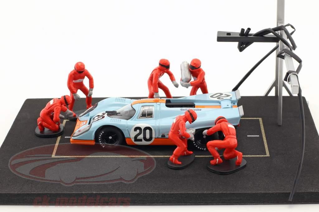 pit stoppen monteur reeks met 6 cijfers en accessoires rood 1:43 Ixo