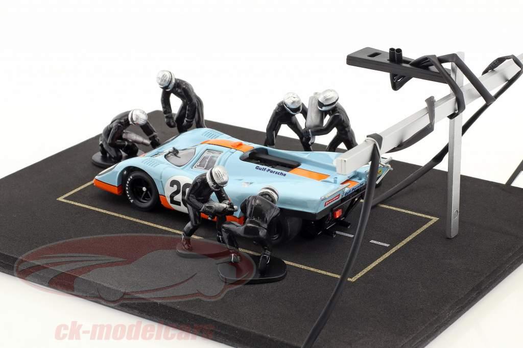 pit stoppen monteur reeks met 6 cijfers en accessoires zwart 1:43 Ixo