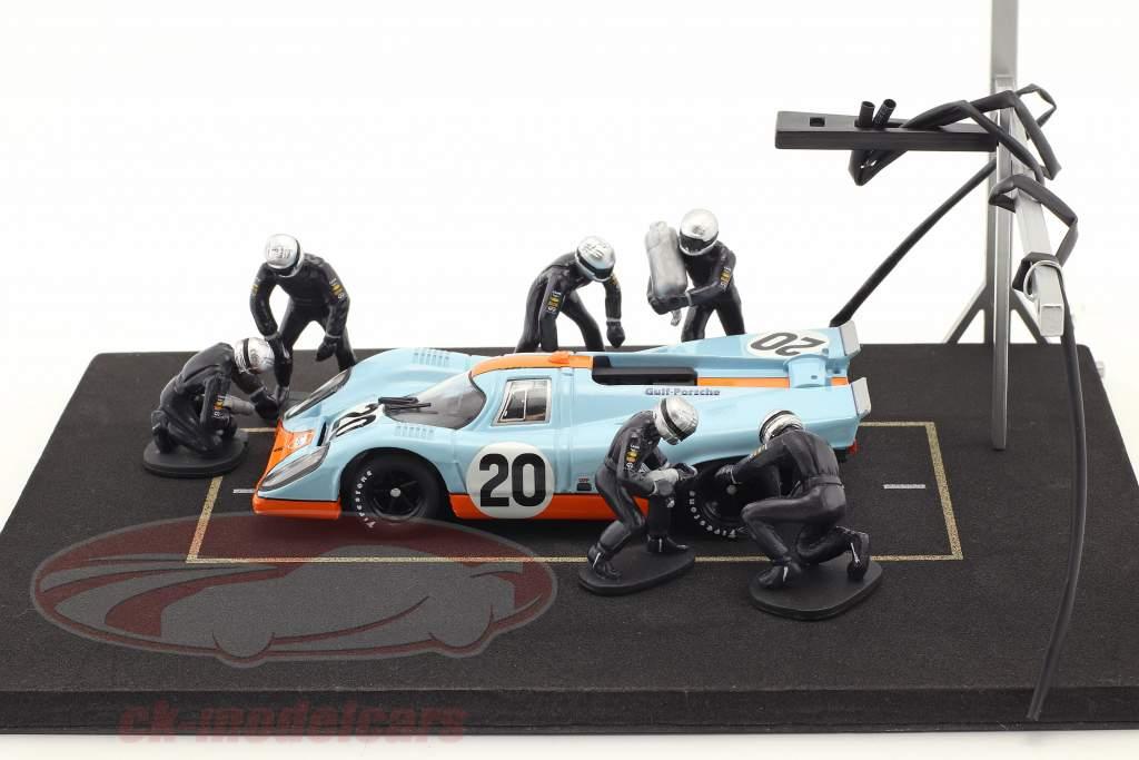 Pit Stop Mechaniker Set mit 6 Figuren und Zubehör blau 1:43 Ixo