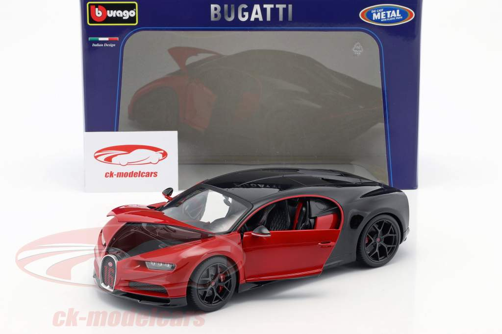 Bugatti Chiron Sport 16 vermelho / preto 1:18 Bburago