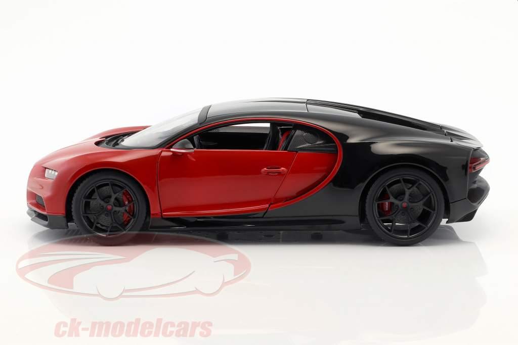 Bugatti Chiron Sport 16 rood / zwart 1:18 Bburago
