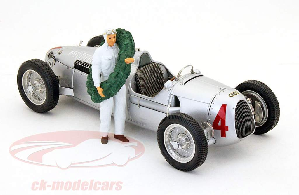 race bil chauffør figur med laurbær krans 1:18 Figutec tal
