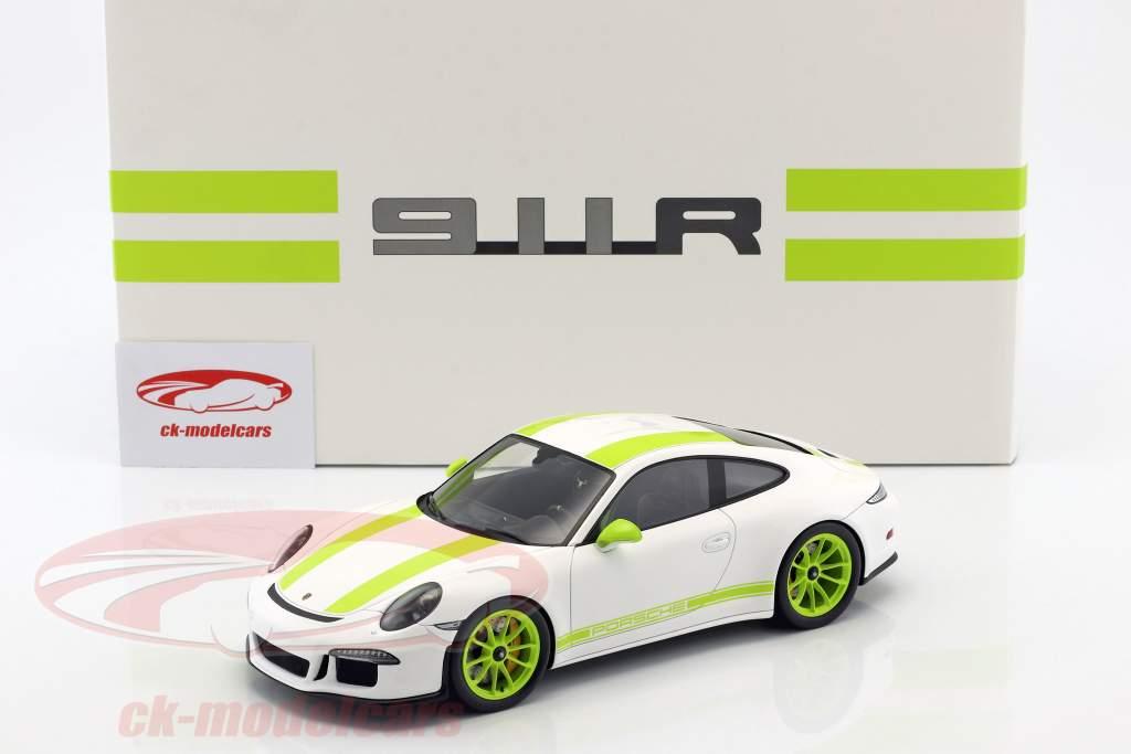 Porsche 911 (991) R year 2016 white / green with showcase 1:18 Spark