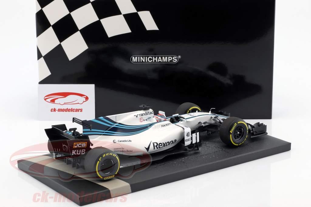 Robert Kubica Williams FW40 #40 prøve bil Abu Dhabi GP F1 2017 1:18 Minichamps